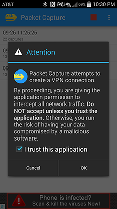 Android packet capture examples
